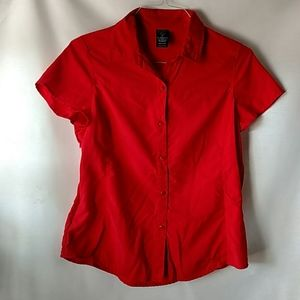 REI red collared button down with ventilation M